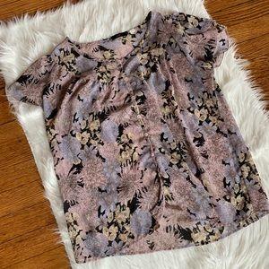 Lux Floral Short Sleeve Blouse